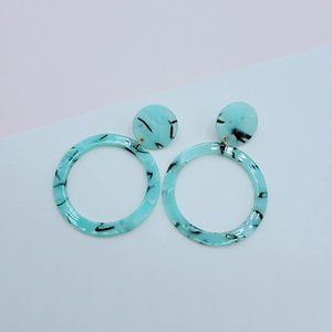 5 for $25 Acrylic Turquoise Color  Resin Earrings